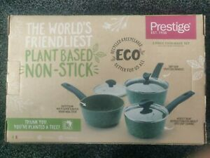 Prestige Eco 3 Piece Aluminium Cookware Set, Non Stick Saucepan Set with Lids...