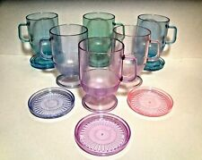 12 PC. - TUPPERWARE ACRYLIC RAINBOW WATERCOLOR PASTEL FOOTED MUGS SAUCERS LIDS