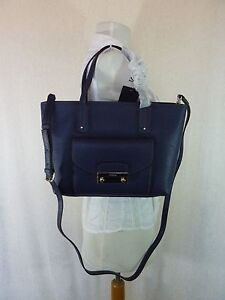 NWT FURLA Navy Pebbled Leather Small Julia Tote Bag $368 - Made in Italy