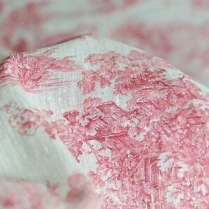 Lin Toile de Jouy impression rouge sur écru French Fabric