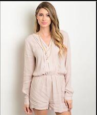 Taupe Long Sleeve Romper Shorts Size Small NEW