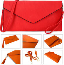 Red Ladies Leather Clutch Purse Bag Womens Envelope Clutch Bag Evening Bag Party