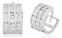 6.7 x 10.5mm 14k Solid White Gold Simulated Diamond 1.00 TCW Hoop Earrings