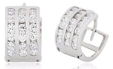 Men's 14k SOLID White Gold Iced Out Hip Hop 3 Row Simulated Diamond Hoop Earring