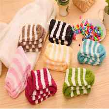 Fashion Women's Striped & Colored Fuzzy Socks with GRIPS Warm VE