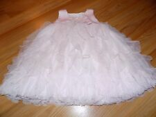 Size 4-5 Years E & B Solid Light Pink Vertical Ruffle Party Dress Sequin Bodice