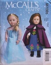 "18"" GIRL DOLL CLOTHES ELSA ANNA American Made McCalls Pattern 7065"