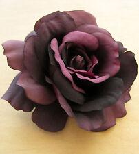 "4.5"" Purple Silk Rose Flower Hair Clip, Wedding, Prom, Dance,Bridal, Party"
