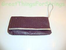 Victorias Secret Clutch Bag Purse Purple Solid Design Rhinestones Silver Edges