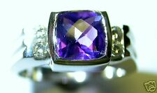 GENUINE AMETHYST AND DIAMOND RING 1.20 CT TOTAL 14 K WHITE GOLD