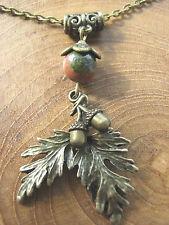 Oak Leaf & Acorn Bronze Necklace Pendant Unakite Gemstone Druid Pagan Hedgewitch