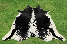 Cowhide Rugs Black Real Hair on Cow Hide Skin Leather Area Rug Decor 5 x 5 ft