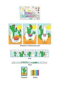 Llama / Alpaca - 5 Piece Stationery Writing Set - Birthday Party Bag Fillers