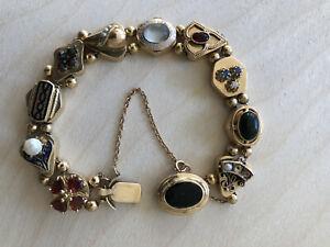 Antique Victorian 14K Gold beaded Slide Bracelet, authentic, inscribed, engraved