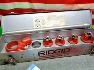 ESTATE* USED RIDGID 00-RB DIE HEADS in BOX w/ HOLDER AND ARM