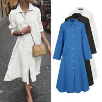 UK Women Long Sleeve Dress Button Casual Loose Dress Asymmetric Split Dress Plus