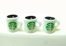 3pcs Dollhouse Miniature Hot Coffee Cup Mugs Food Drink Beverage Scale Model Toy