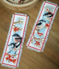 Long-tailed Tits & Red Berries - Bookmarks (2) Vervaco Cross Stitch Kit New