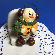 Cute Adorable Vtg Snowman Pin Brooch Wearing Earmuffs Scarf Mittens Nice