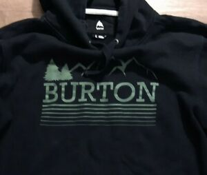 Burton Men's Black Drawstring Hoodie Sweatshirt Pullover Size L