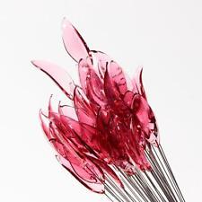 (50) large lampwork Czech old pink leaf studio art glass craft headpin beads