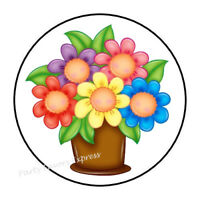 """48 GET WELL SOON FLOWERS ENVELOPE SEALS LABELS STICKERS 1.2/"""" ROUND"""