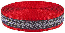 1 Inch Black and White Pinwheels Ribbon on Red Webbing Closeout,  50 Yards