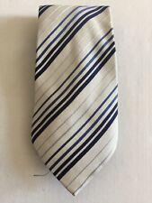 Mens Tie - Cedarwood State 100% Silk: White And Blue Stripes