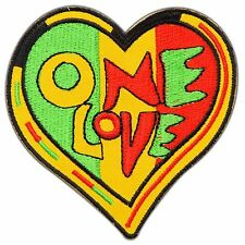 Peace One Love Heart Rasta Rastafari  Hippie Boho Reggae Iron-On Patches #0807