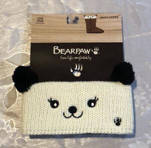 BearPaw Bear Knit Boot Cuffs Toppers Womens Leg Warmers Teddy Bear Ivory/Black