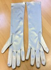 Unworn John Lewis Silver Stretch Satin Long Gloves One Size