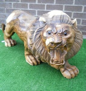XL GREAT QUALITY WOODEN CARVED FIGURE LION 100 CM NEW ORNAMENT 15 kg