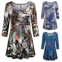 Moda tunica Top Camicie floreali 3/4 maniche Ladies O-collo camicia camicetta