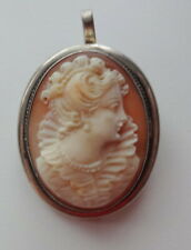 Princess 800 Silver Brooch Pendant Georgian Fine Intricate Carved Shell Cameo