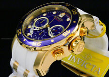 New Invicta Men Scuba Pro Diver Chrono 18K Gold Plated Blue Dial SS Poly Watch