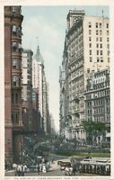NEW YORK CITY – The Canyon of Lower Broadway showing Horse Drawn Streetcars