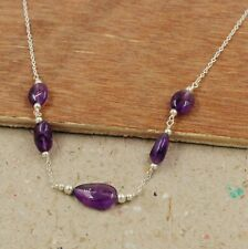 Solid 925 Sterling Silver Amethyst Beads Handmade Daily Wear Gift Necklace