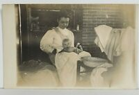Rppc Adorable Baby Bath Time on the Porch in Washbasin c1910 Postcard N15