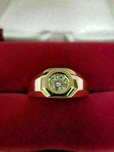 1.00CT Round Cut Men's Diamond Solitaire Pinky Ring Vintage 14K Yellow Gold Over