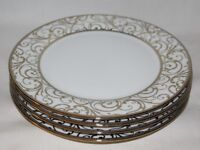 Ciroa Veluto Gold Swirls Metallic Accent Porcelain Dinner Plates Set of Four New