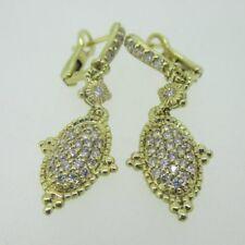 14K Yellow Gold Judith Ripka Diamond Cluster Dangle Earrings