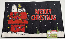 """Peanuts Snoopy Doghouse Snow """"MERRY CHRISTMAS"""" Holiday Lights Accent Rug Doormat"""