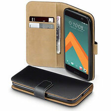 For HTC 10 One M10 Real Genuine Leather Flip Wallet Case Cover Stand Skin Pouch
