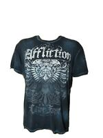 Affliction Spellout Mens Shirt Blue White Live Fast Made in USA Mens Size Large