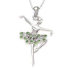 Ballerina Halskette+Anhänger Kristall Grün Ballett Tänzerin  Halskette Kette
