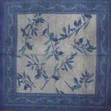 "Border Vine Stonewash Cotton Table Napkin 18"" x 18"" Blue"