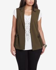Reitmans Woman's Olive Green Blazer Style Vest W Tie & Faux Pockets Size 18
