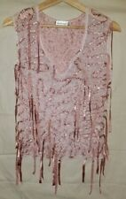 Anne Fontaine Size 2-4 Pink Sheer Embroidered Sleeveless Fringes Blouse Top