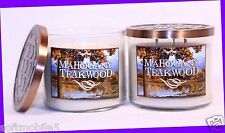 2 Jars Bath & Body Works MAHOGANY TEAKWOOD Scented 3-Wick Filled Candle 14.5 oz