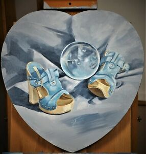 ART PAINTING ON CANVAS FOLK ART SHOES VALENTINA DAY LOVE
